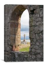 Celtic cross and remains of St Dynwen's church, Ll, Canvas Print