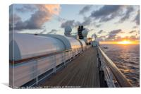 Sunset aboard a cruise ship, South Pacific, Canvas Print