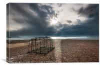 Fish trap on stony beach, Canvas Print