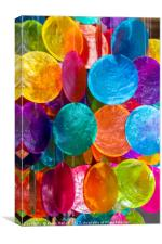 Colourful painted shell decorations, Canvas Print