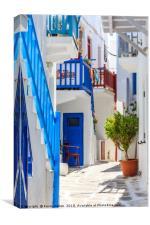 Typical street, Chora,, Canvas Print