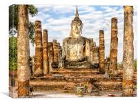 Buddha statue, Wat Mahathat, Canvas Print