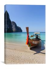 Long tail boat on white sand beach, Canvas Print