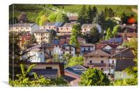 Alpine town in summer light, Canvas Print