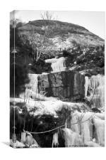 Frozen Waterfall Brecon Storm Emma, Canvas Print