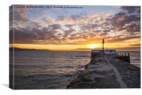 Looe banjo pier at sunrise, Canvas Print