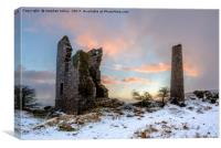 Wheal Jenkin Mine at sunrise in the snow, Canvas Print