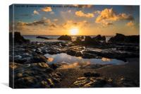 Sunrise at Hannafore point, Canvas Print
