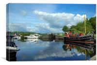 Reflections of Crinan Harbour, Canvas Print
