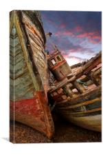 Sunset wrecks at Salen, Canvas Print