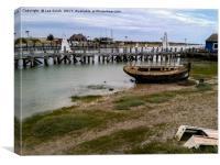 Derelict Boat Rye Harbour                       , Canvas Print