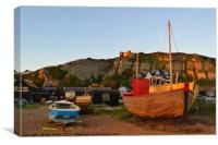 Hastings Old Town Fishing fleet at Sunset, Canvas Print