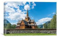 the stave church in Lom, Canvas Print