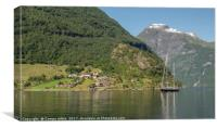 sailing ship in Geirangerfjord Norway, Canvas Print