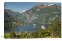 camping and cruise geiranger fjord norway, Canvas Print