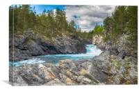 waterfall and rocks in norway, Canvas Print