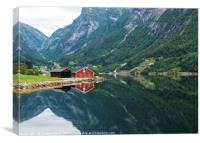 red wooden house at norway fjord, Canvas Print