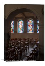 windows from inside church , Canvas Print