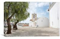 olive trees and church in tavira, Canvas Print