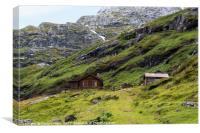 wooden house in nature area Jostedalsbreen, Canvas Print
