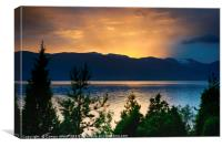 sunset at the sognefjord in norway, Canvas Print