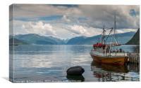 fishing boat in the harbor of Vik, Canvas Print