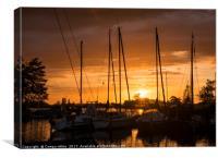 sunset in the harbor of de veenhoop in holland, Canvas Print
