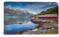 red houses and a boat in the fjord in norway, Canvas Print