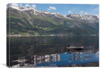 a boat in the fjord in norway, Canvas Print