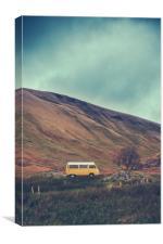 Vintage Camper Van In The Wilderness, Canvas Print