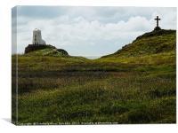 Llanddwyn lighthouse and cross, Canvas Print