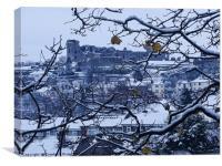 Denbigh castle hidden behind the snow, Canvas Print