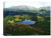 Looking down on Lake Grasmere from Loughrigg fell, Canvas Print