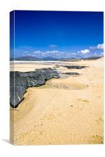 Beach, Blue sky, Rock outcrop, sunshine, Canvas Print