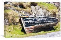 Boat, Wooden dinghy,Abandoned, Rotting, Roadside,, Canvas Print