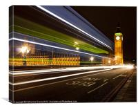 Night Bus on Westminster Bridge, Canvas Print