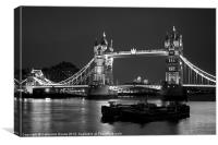 Tower Bridge black and white, Canvas Print