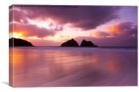 Holywell Bay Sunset, Canvas Print