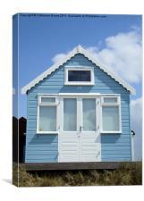 Sky blue beach hut, Canvas Print