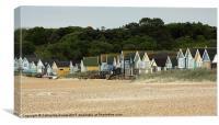 Beach huts on Hengistbury Head, Mudeford, Canvas Print