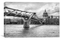 Millennium Bridge in black and white, Canvas Print