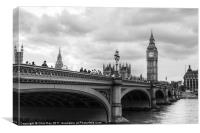Westminster bridge black and white, Canvas Print