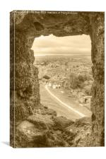 Village viewed from Corfe Castle, Canvas Print