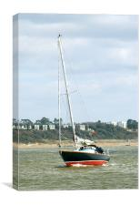 Yacht entering Christchurch harbour, Canvas Print