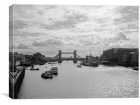 Tower Bridge and HMS Belfast in Black and White, Canvas Print