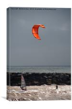 A kite surfer and wind surfer, Canvas Print