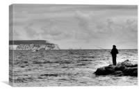 Lone Angler 2 in black and white, Canvas Print