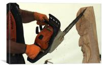 Wood carving with a chainsaw, Canvas Print