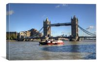 Tower Bridge with Canary Wharf in the Background, Canvas Print