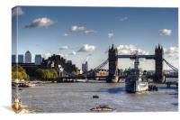 Canary Wharf Tower Bridge and HMS Belfast, Canvas Print